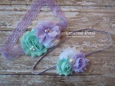 Lavender and aqua headband, big sis little sis headbands, matching headbands, coordinating headbands, aqua headband, lavender headband by TatteredPetal on Etsy https://www.etsy.com/listing/227438497/lavender-and-aqua-headband-big-sis