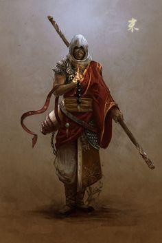 Spear wielding, robe wearing sand monk