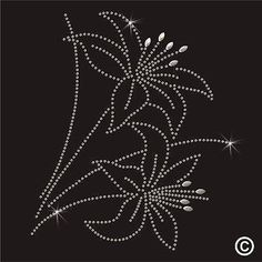 Lily Flower Rhinestone Diamante Transfer Iron On Hotfix Crystal Motif Gem Patch