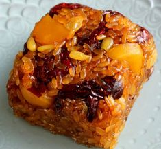 Yaksik (약식, 약밥): Sweetened rice with dried fruits and nuts