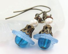 Blue Earrings Lucite Flower Earrings Lucite by TrinketHouse, $4.50