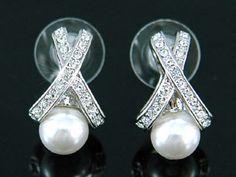 """Κοσμήματα :: Σκουλαρίκια :: Νυφικά Σκουλαρίκια με Τεχνητά Μαργαριτάρια και Swarovski Κρύσταλλα """"Madeline"""" - http://www.memoirs.gr/"""