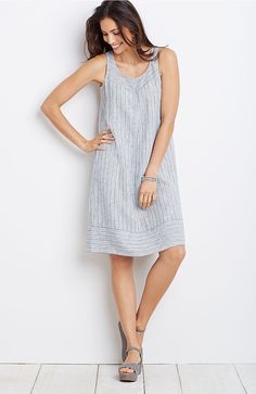 Linen striped a-line tank dress from J. Jill. I already have the blouse that matches this. :)