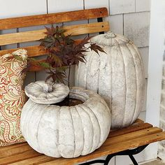 This is one great pumpkin. Made of outdoor-safe stone, so you can set it out every Halloween and enjoy it throughout the holidays. Stem top lifts off, so it doubles as a fun fall planter, too.