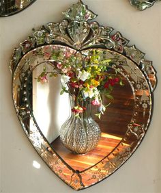 All Things Shabby and Beautiful: Photo - Venetian glass heart mirror Heart Mirror, Mirror Mirror, Wall Mirrors, Sunburst Mirror, Mirror House, Mirror Mosaic, Mirror Ideas, Mirror Image, Decoration Shabby