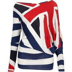 **Union Jack Top by Wal G ($28) ❤ liked on Polyvore featuring tops, shirts, blusas, london, walg, kimono top, uk flag shirt, union jack flag shirt and british flag top