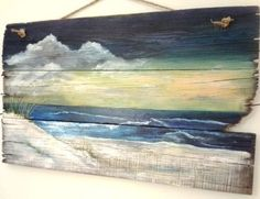 Affordable Original Sea & Beach Paintings by Etsy Artists Beach Painting on Wood by Etsy Artist. Featured on Beach Bliss Living: beachblissliving…. Pallet Painting, Pallet Art, Painting On Wood, Art On Wood, Diy Painting, Pallet Beds, Pallet Wood, Art Plage, Seascape Paintings