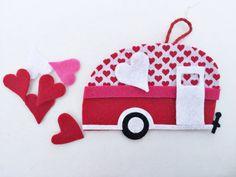 Camper Ornament Valentines Garland Heart by TheLilFeltShoppe