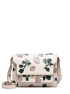 TRUNK bag in calfskin with flower applications in python