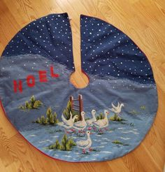 """Christmas Tree Skirt finished Needlepoint Cross Stitch Noel Snow Blue Geese 39"""""""