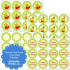 Printable Winnie the Pooh Cupcake Toppers from PrintableTreats.com