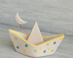 Barchetta miniatura - Bomboniere battesimo - Home decor - Barca - Paper boat - Luna - Ceramica - Terracotta - Regalo per la casa