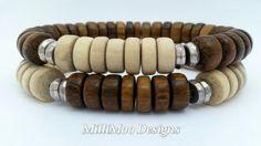 Mens Robles Wood and Natural White Wood Rondelle Bead Bracelets,Beach Bracelets,Yoga Bracelets,Surfer Bracelet,Boho Bracelet,Wooden Stretch by MilliMooDesigns on Etsy