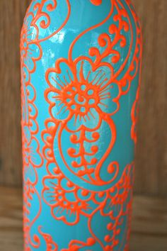 Hand Painted Wine bottle Vase Up Cycled Turquoise by LucentJane