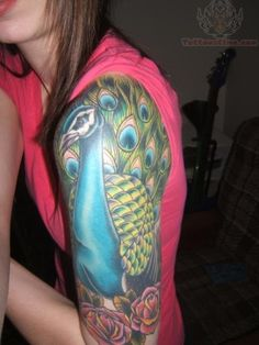 half sleeve tattoos for women | Colorful Peacock Tattoo On Half Sleeve