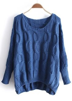 Blue Long Sleeve Asymmetrical Pullovers Sweater
