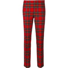 P.A.R.O.S.H. cropped Lamix trousers ($273) ❤ liked on Polyvore featuring pants, capris, red, tartan pants, red pants, red crop pants, plaid trousers and cropped capri pants