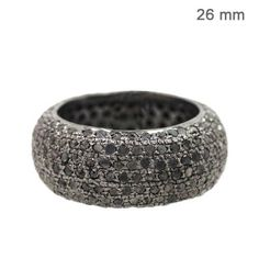 925 Sterling Silver Natural Diamond Pave Band Ring Handmade Vintage Look Jewelry #Handmade #Band