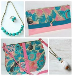 Bags and necklesses in turquoise and light pink for a bright summer. For orders contact me at: contact@andresdesign,ro or +40770182587