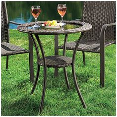 Wilson & Fisher® Resin Wicker Glass Top Bistro Table at Big Lots. I LOVE BISTRO SETS !!! HOW COOL IS THIS ONE