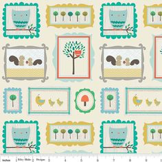 By the Yard Designer Riley Blake Scenic Critters Cream Flannel Cotton Fabric JTH0859