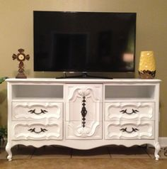 Old dresser turned into a tv stand! Love this, so easy!
