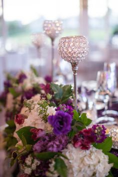 Purple, green, white and silver wedding at Carmel Mountain Ranch Country Club in San Diego, California. #centerpiece #purplewedding View More: http://nataliebray.pass.us/meganandjustinwedding