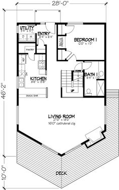 Beach House Plan with 4 Bedrooms and 1.5 Baths - Plan 1368