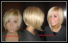 Short hair extensions before and after