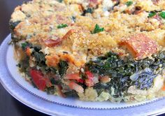 A take on Susan Feniger's savory bread pudding. Cubed gluten-free bread ends, garden chives, chicken broth, lemon, garlic, onion and farmer's market kale/eggs/bacon/tomato. Topped with herbed rice bread crumbs.