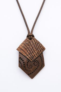 """Wood carved pendant """"Styles of Beyond"""" from coconut shell gift for him fractial artistic abstract hand carved polished pendant shell ca - $44.00 USD"""