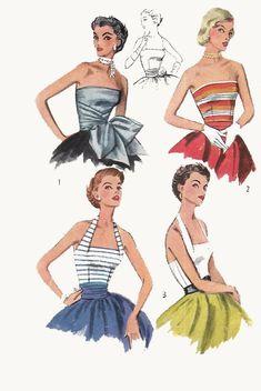Retro Sewing Vintage Sewing Pattern Pin-Up Glamorous Halter Neck Strapless Tops B - Dress Making Patterns, Vintage Dress Patterns, Clothing Patterns, Vintage Dresses, Vintage Outfits, Vintage Fashion, Vintage Couture, Blouse Vintage, Vintage Clothing