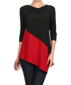 Loving this Black & Red Asymmetrical Drape Top on #zulily! #zulilyfinds