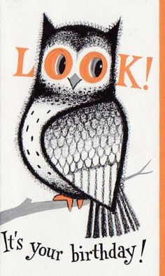 vintage owl birthday card