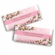 Baby Cherry Blossom - Personalized Baby Shower Candy Bar Wrapper Favors $0.89