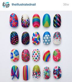 The illustrated nail dots flowers bright