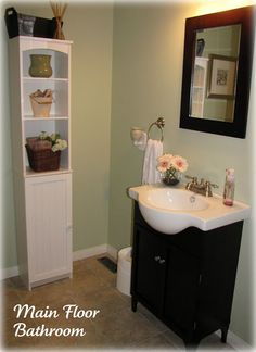 Clean & Scentsible: Bathroom Organization and Cleaning Tips.....also love the tall narrow storage cupboard!