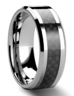 Mens Silver Mirror Finish Wedding Band with a Black Carbon Fiber Inlay   Mens Ring   Threaded $70  