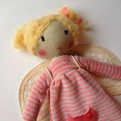 Unique doll to be dressed - Handmade Cloth doll, Rag doll - KERKA with detachable angel wings