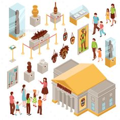 Museum set of isometric icons with building outside, showcases with exposition, visitors at excursion isolated vector illustration