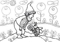 Manó katicabogárral Faeries, Minion, Folk, Coloring, Snoopy, Fantasy, Paper, Fictional Characters, Xmas