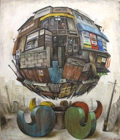 Masakatsu Sashie is a contemporary Japanese artists whose works are strange globes created from architectural elements. These works have gained him recognition in shows worldwide, most notably the armory show.