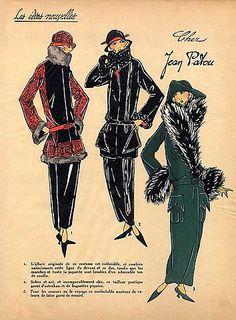 1923 Jean Patou Les Idees Nouvelles de la Mode Fashion Art Deco Pochoir Tres Parisien