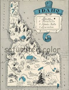 Idaho+Map+1931+ORIGINAL+Vintage++Picture+Map++by+SaturatedColor