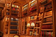 Home Library Long Wall With Ladder Detail Walnut Wood by Jim Cardon Library Study Room, Dream Library, Urban Outfitters Home, Long Walls, Bedroom Wall Colors, Home Studio Music, Home Office Chairs, Farms Living, Custom Woodworking