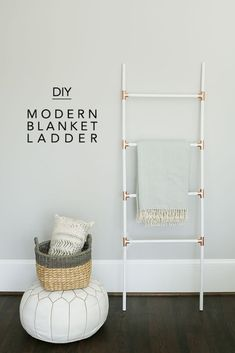 Update your home with these modern DIY decor ideas you can make yourself. Modern DIY Decor ideas for every room in your home. Diy Design, Design Blog, Design Ideas, Diy Ladder, Diy Blanket Ladder, Ladder Decor, Plant Ladder, Home Decor Bedroom, Living Room Decor