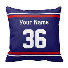 Great Personalized pillows with Your NAME and NUMBER on Sports Throw Pillows   Click Here:  http://www.zazzle.com/your_name_and_number_on_sports_throw_pillows-189018369371706436?rf=238147997806552929* See All Personalized Sports Gifts with Your Text, Jersey Number, Team Photo and Team COLORS Sports Gifts Ideas Click our Zazzle Sports Shop Online LINK:  http://www.zazzle.com/littlelindapinda/gifts?cg=196042164846476254&rf=238147997806552929*   CALL LINDA for HELP and CUSTOM ORDERS…