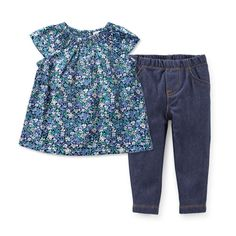 Carter/'s Toddler Girls/' TWO Pair Leggings Small Floral Print /& Faux Denim NWT