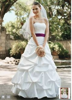 Satin pick-up ballgown with corset bodice and brooch detail. Style T9104   *the ribbon would have to be blue :-)*