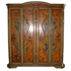 18th Century Italian Painted Armoire (back, floor, and shelves not original)